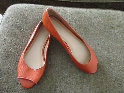 32ee392d31f NWOB Talbots Leather Tomato orange flats Peep Toes Shoes sz 9 M womens shoes
