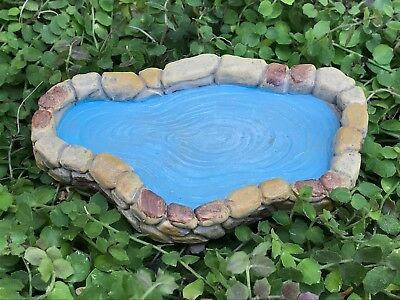"Miniature Dollhouse FAIRY GARDEN Accessories ~Small Tan Pond with ""Water"" ~ NEW"