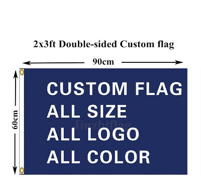 Double Sided Custom Flag Banner All Color 2x3FT Polyester, free shipping