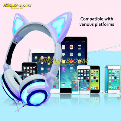 Cat Ear Foldable Headset LED Light Headphone Adjustable Earphone NoiseCancelling