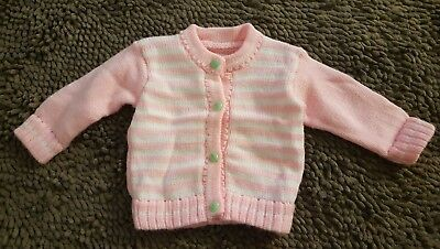 Handmade*Pink Striped Vintage Cardigan Sweater*Size 3-6mos*EVC
