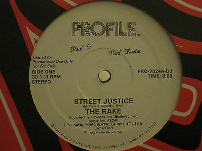 "The Rake Street Justice 12"" Og '83 Profile Promo Hip Hop Synth Funk Electro Nm-"