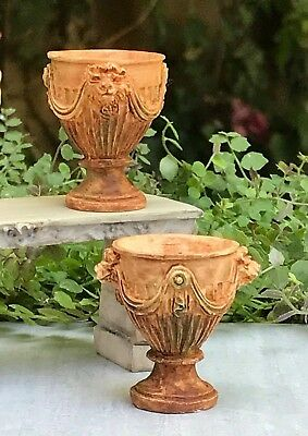 Miniature Dollhouse FAIRY GARDEN Accessories ~ Set of 2 Aged Urns with Swag NEW