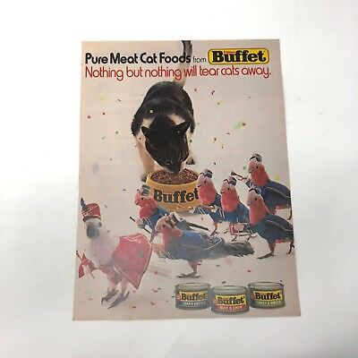 1983 vintage Friskies Buffet Cat food ad Nothing Will Tear Cats Away cockatoo