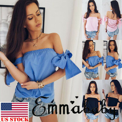 US Fashion Women Summer Loose Top Off Shoulder Blouse Ladies Casual Tops T-Shirt