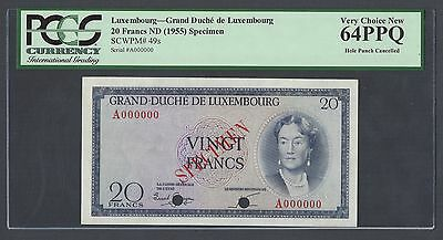 Luxembourg  20 Francs ND 1955 P49s  Specimen Uncirculated