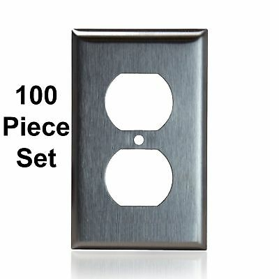 100 Pack Stainless Steel Outlet Cover 1-Gang Duplex Receptacle Metal Wall Plate