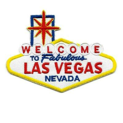 """WELCOME TO FABULOUS LAS VEGAS IRON ON PATCH 3.8"""" Embroidered Famous Nevada Sign"""