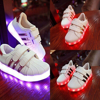 Kids Boys Girls LED USB Charge Lace Up Luminous Sportswear Sneaker Casual Shoes