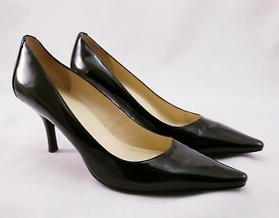 856abae82c63 Calvin Klein Women s Pumps Pointed Toe Heels Leather Diva Shoes Black Size  ...