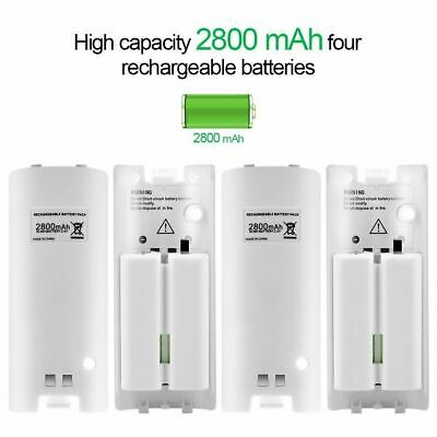 4X White For Wii Remote Controller Rechargeable Batteries & Charger Dock Station