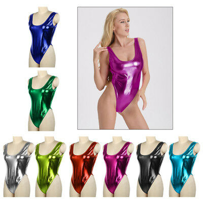 Metallic One Piece Bodysuit Wet Look Swimwear Beachsuit High Cut Leotard Thong