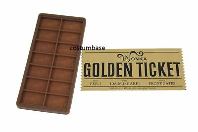 WILLY WONKA DIY MOULD + Golden TICKET Chocolate Bar Casting Mold 7.5'' x 3.5''
