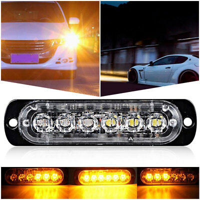 Tail Lights 6LED Strobe Marker Lights Yellow DC12-24V Truck Motorcycle