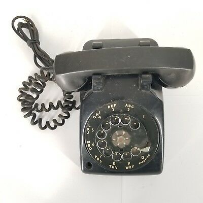 BELL SYSTEM ~ Vintage rotary antique metal phone BLACK WITH Cord VERY OLD PHONE