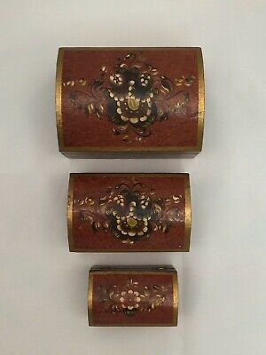 Three (3) Mexican Nested Nesting Jewelry Boxes Painted Folk Art Curio Stash Box