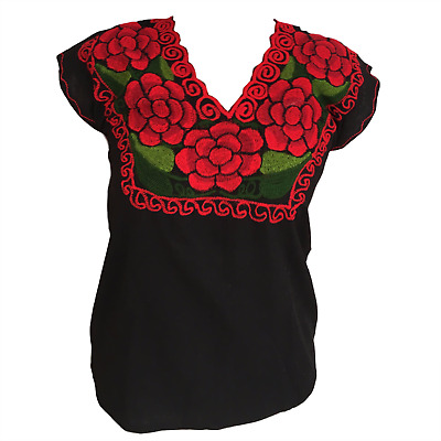 Floral Mexican Blouse -Authentic -Embroidered  - Handmade - Black w/ Red Flowers