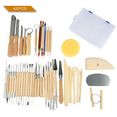 NEW 45x Wooden Ceramic & Clay Sculpting Pottery Art Tools Kit with Plastic Case