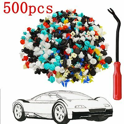 500x Push Pin Mixed Door Trim Panel Clip Fastener Bumper Rivet Retainer w/ tool