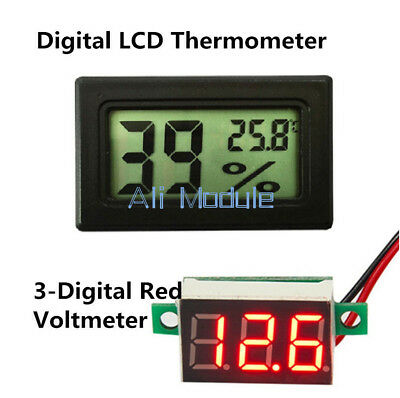 LED Voltage Red Meter Digital LCD Temperature Humidity Thermometer Hygrometer