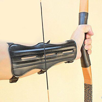 Black PU Leather Archery Bow Target Arm Guard Forearm Armband Protection Hunting