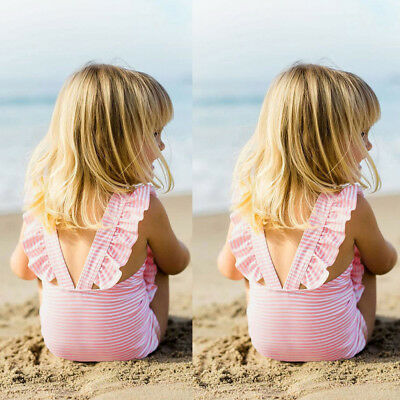 Toddler Baby Girls Striped Bikini Ruffles Summer Seaside Pool Bathing  Swimwear