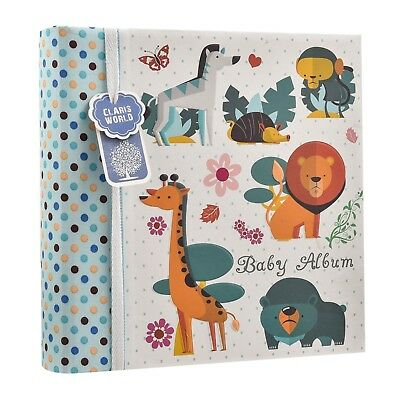 Baby Boy Blue Slip in Memo Photo Album 4 x 6'' For 200 Photos,Woodland BA-1607