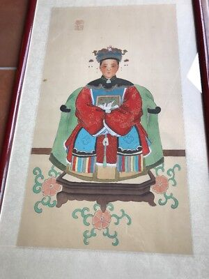 """Chinese  Ancestor Portrait Painting on Silk 25"""" x 14"""" Framed Red Green Blue"""
