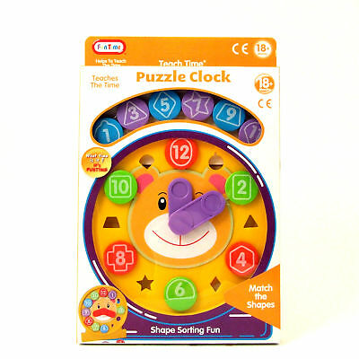 Shape Sorter Puzzle Clock Age 18 months+ Learn Shapes Numbers Fun Time