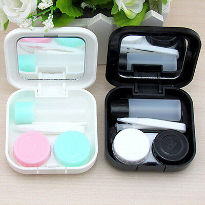 Eye Care Contact Lens Case Set Holder Storage Container Mirror Travel Portable&