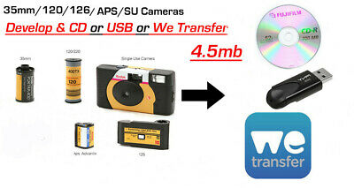 COLOUR FILM DEVELOP & 4.5Mb CD or USB or WeTransfer - 35mm/120/APS
