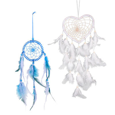 Handmade Dream Catcher w/ Feather Wall Hanging Home Decoration White & Blue
