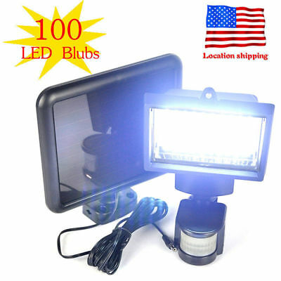 100 LEDs Outdoor Solar Powered Sensor Light Security Flood Motion Garden Lamp