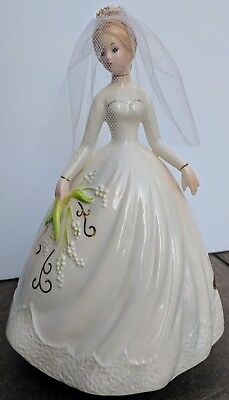 Josef Originals Bride Rotating Music Box Wedding March Veil Lady Figurine Label