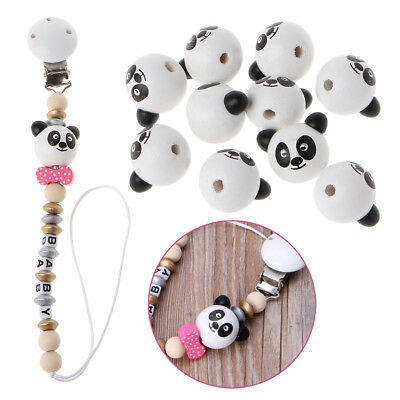 24mm Wooden Bear Head Teething Chew Beads For Baby DIY Pacifier Chain 10PCs/Set
