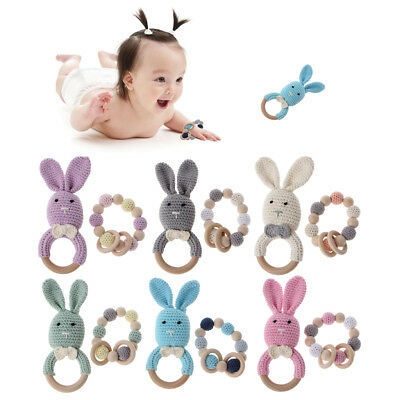 Baby Wooden Teether Bracelet Crochet Bunny Teething Ring Chewing Toys 2Pcs/Set