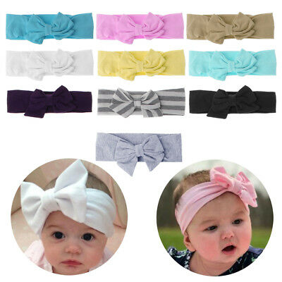 Pure Color Kid Baby Girls Toddler Hair Band Cute Bowknot Knot Cotton Headband
