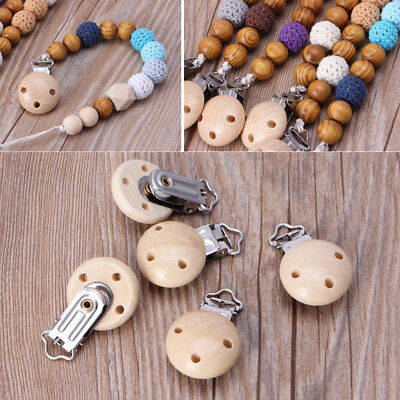 5PCs Wooden Metal Baby Pacifier Clips Infant Soother Clasps Holders Accessories
