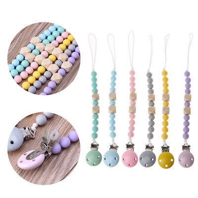 Baby Toddler Dummy Pacifier Wooden Soother Nipple Clip Chain Holder Strap Infant