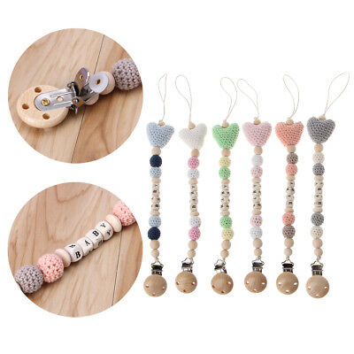 Wooden Beads Dummy Clips Holder Pacifier Clips Soother Chains Baby Teething Toys