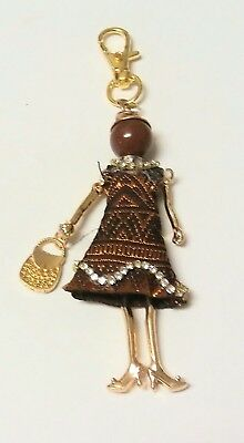Scissors Fob Lady in Brown Patterned Dress Holding a Handbag Charm New