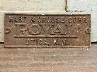 Vintage Cast Iron Sign Hart & Crouse Corp Royal Utica NY, Boiler Furnace