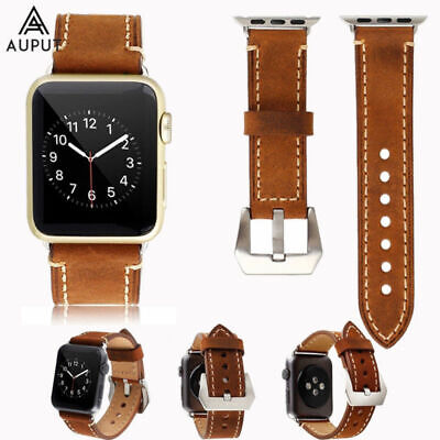 Vintage Echte Leder Armband für Apple Watch Series 1/2/3/4 38/42mm 40/44mm DE
