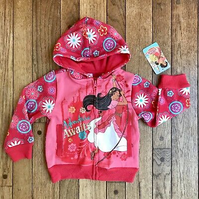 NWT Disney Elena of Avalor Girls Hooded Sweatshirt Size 2T Pink Full Zip New