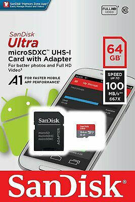 64GB SanDisk Ultra microSD Card up To 80MB/s UHS-I Class 10 With Adapter