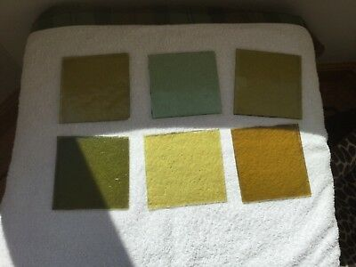 "Antique stained glass Squares Reclaimed 6 Pieces 4x4"" VARIOUS SHADES OF GREEN"