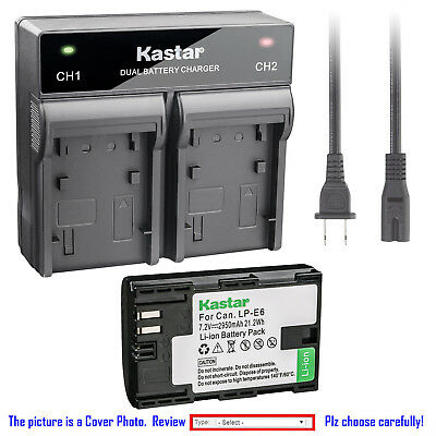 Kastar Battery Dual Rapid Charger for Original Canon LP-E6N LPE6 OEM LC-E6E LCE6
