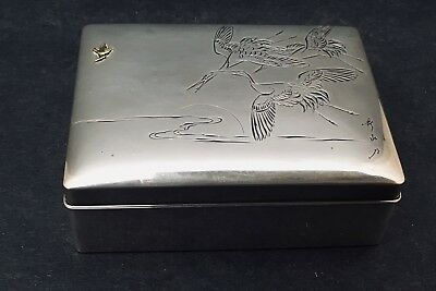 Japanese Meiji Sterling Silver .950 Box w/ Wood Interior, Signed