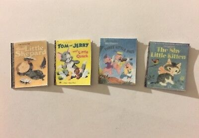 Dollhouse Miniature 4 Little Golden Books 1:6 - kids Baby play room