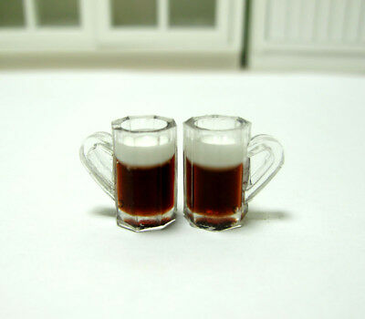 2pcs Dollhouse Miniature 1:12 Toy Kitchen Beer Glass Drinking Cups Mug Accessory